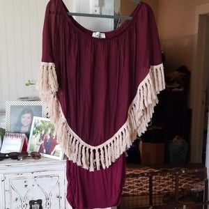Excellent condition burgundy Cape dress bt Joy Han